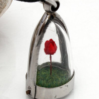 Miniature Valentines dried red rose terrarium dome locket pendant with green flocked grass