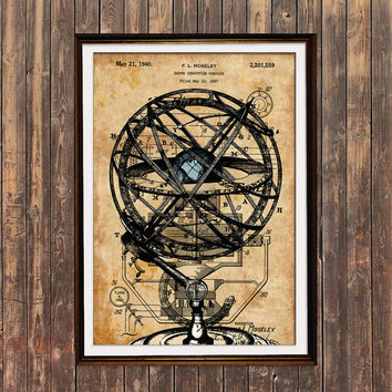Steampunk poster Armillary print Antique art Patent print SOL39