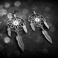 Dream Catcher Earrings - flower catcher