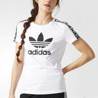 Adidas Women Fashion Scoop Neck Tunic Shirt Top Blouse