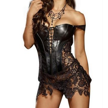 Hot Club Dress Women Sexy Clubwear Plus Size Hollow Out Leather Corset Dress Lace Embroidery Zip Back Dresses