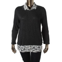Style & Co. Womens 2-in-1 Long Sleeves Blouse