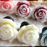 Rose Plugs for Gauged Ears Sizes 00g, 0G, 2G, 4G , 6G, 4mm, 5mm, 6mm, 8mm, 10mm, Also Available For Pierced Ears, Choose Your Color