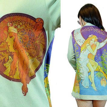 vintage 1970s FAIRY blouse mystical Wonderland print mint shirt top novelty Goddess stars moon cosmic shirt gypsy Small