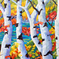 Original large Birches  oil painting The Pool_SOLD