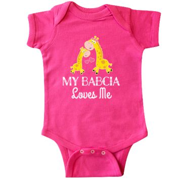 My Babcia Loves Me Infant Creeper for a little girl has cute giraffe grandma and grandchild. $18.99 www.personalizedfamilytshirts.com