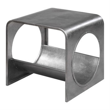 Yeager Aviation Industrial Modern Silver End Table