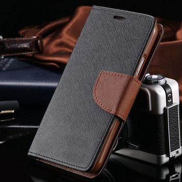 Flip Leather Wallet Case For Samsung Galaxy