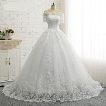 Short Sleeve Boat Neck Quality Ball Gown Wedding Dresses Lace Appliques Princess Wedding Dress Bridal Gown