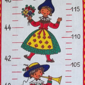 Vintage Kolf Children's Growth Chart Wall Hanging Austrian 100 Percent Cotton 1970s Folk Costumes Theme Folk Art Child's Room Kitchen Decor