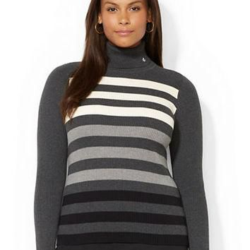 Lauren Ralph Lauren Plus Ombre Stripe Turtleneck Sweater