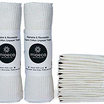 Washable and Reusable Unpaper Towel, Eco-Friendly Paperfree Kitchen Roll and Dish Rag Cloth Alternative, Organic Cotton (20 Pack)