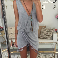 2015 Fashion Women Summer style Dress Knit Casual Desigual Tassel Beach Bodycon Plus Size Clothing Sexy Mini Dresses Vestidos