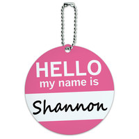 Shannon Hello My Name Is Round ID Card Luggage Tag
