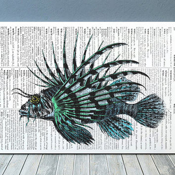 Lio fish poster Beach house print Nautical print Marine decor RTA757