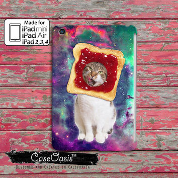 Cat Breading Strawberry Jelly Toast Funny Cute Kitty In A Space Galaxy Tumblr Inspired Custom iPad Mini, iPad 2/3/4 and iPad Air Case Cover