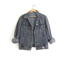 Vintage 80s GUESS black faded black / gray denim jean jacket // size M