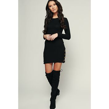 Desired Ribbed Dress (Black)