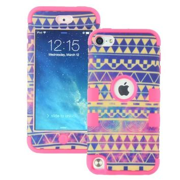 MagicSky PC + Silicone Galaxy Tribal Pattern Case for Apple iPod Touch 5 5th Generation - 1 Pack - Retail Packaging - Hot Pink