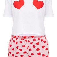 Pink Heart T Shirt PJ Set