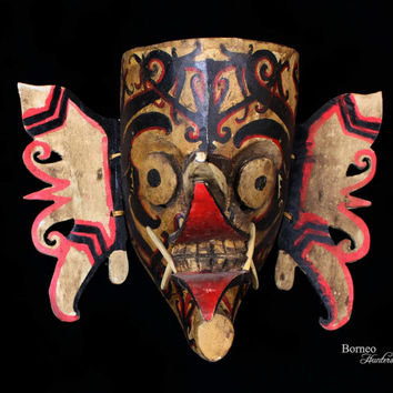 Borneo Hudoq Mask,Bahau Dayak Kalimantan Ceremonial Rice Festival Dance Mask Collectible Tribal Ethnographic Artwork Home Decor/Wall Hanging