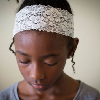Lace Headband - Set of 3 Stretchy Lace Black, Pink, Ivory Headbands for women and girls by Riches Creations