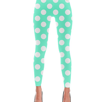 Turquoise Polka Dot Pattern Leggings