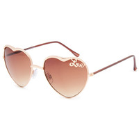 Full Tilt Heart Love Aviator Sunglasses Gold One Size For Women 25387462101