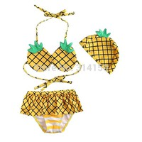 VIVOBINIYA Free shipping Children swimwear baby girl Pineapple style swimsuit kids bathing suit baby 3pics set summer clothing