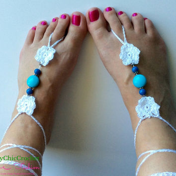 White and Turquoise Barefoot Sandals, Barefoot Sandals, Beaded Barefoot Sandals, Wedding Sandals, Beach, Wedding, Beach Wedding