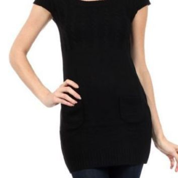 Sexy Scoop Neck Short Sleeve Pullover Sweater Cable Knitwear Jumper Mini Dress