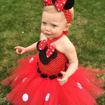 Girls Red Cartoon Cosplay Tutu Dress Baby 2Layer Fluffy Ballet Dress with Dots Ribbon Bow and Headband Kids Birthday Party Dress