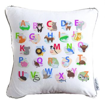 Colorful Alphabet Graphics Decorative Kids Pillow w/ Reversible Gold and White Sequins- COVER ONLY (Inserts Sold Separately)