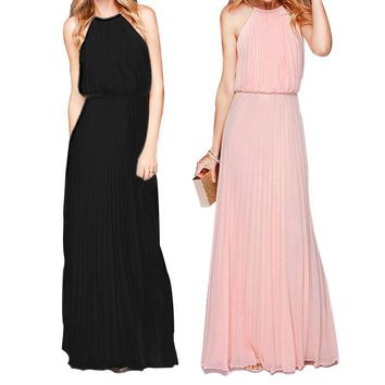 Dropshipping Hot Sale 2017 Women Dress Elegant Bohemian Beach Neck Sexy Maxi Dress Chiffon Halter Long Dress