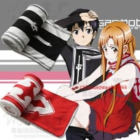 Sword Art Online Kirito Asuna Anime Character Scarf Polar Fleece Winter Knit (Color: Red) = 1958365188