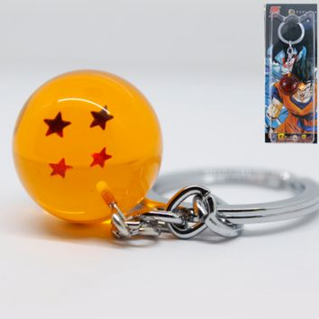 1PC cool Anime Goku Dragon Ball Pendant Keychain 3d 4-star Sheer Resin Ball Pendant Keychain Metal Key Rings Anime Fan Best Gift