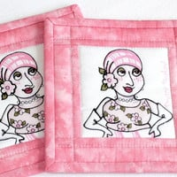Coaster Quilted fabric coaster Pink coaster On the mend Loralie Breast Cancer Awareness Breast Cancer Survivor