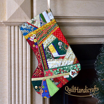 Christmas stocking Quilted Patchwork Christmas décor Style crazy Christmas boot in vibrant colors Unique gift Holiday home decoration