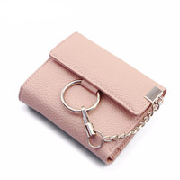 PU Leather Metal Ring 3 Folds Wallet