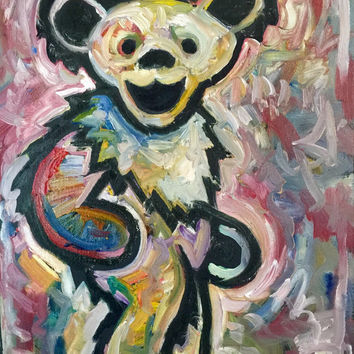 Grateful Dead Art Original Oil Painting 16x20 Jerry Garcia Art Dancing Bear Music Art Hippie Art Pop Art Painting by Matt Pecson