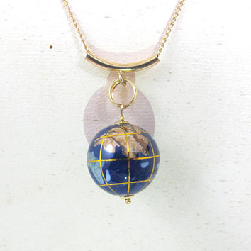 14K Michael Anthony Globe Pendant Necklace Slide, Lapis Blue Enamel Inlay Earth World Globe Dangle Charm, Yellow Gold Filled Chain