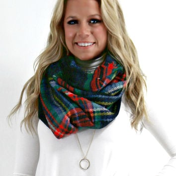 The Norfolk Black Tartan Plaid Knit Infinity Scarf With Frayed Hem