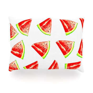 "Sreetama Ray ""Summer Fun"" Watermelon Oblong Pillow"