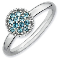 Blue Topaz Cluster Stackable Ring
