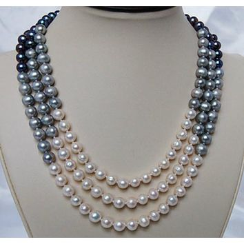 Peacock and White 3 Strand Pearl Necklace PN082