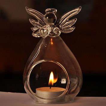 Romantic Angel Crystal Glass Candle Holder Hanging Tea Light Lantern Candlestick Burner Vase DIY Home Wedding Party Decoration