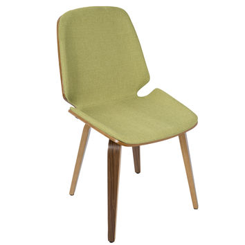 Serena Mid-Century Modern Dining Chairs in Green Fabric and Walnut Wood- Set of 2