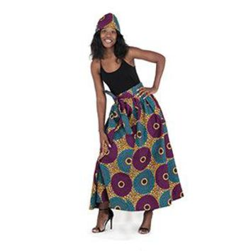 Purple/Turquoise Circle Print Long Skirt