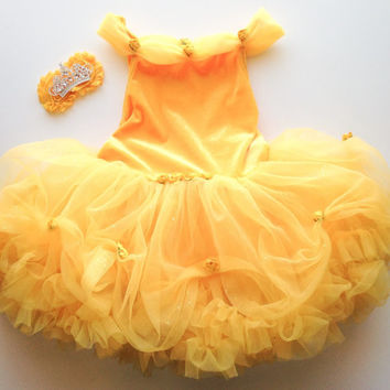 Belle Disney Princess inspired Petti DRESS and matching Belle inspired tiara flower hair clip
