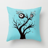 Excited Tree Monster Ink Drawing Throw Pillow by borianagiormova